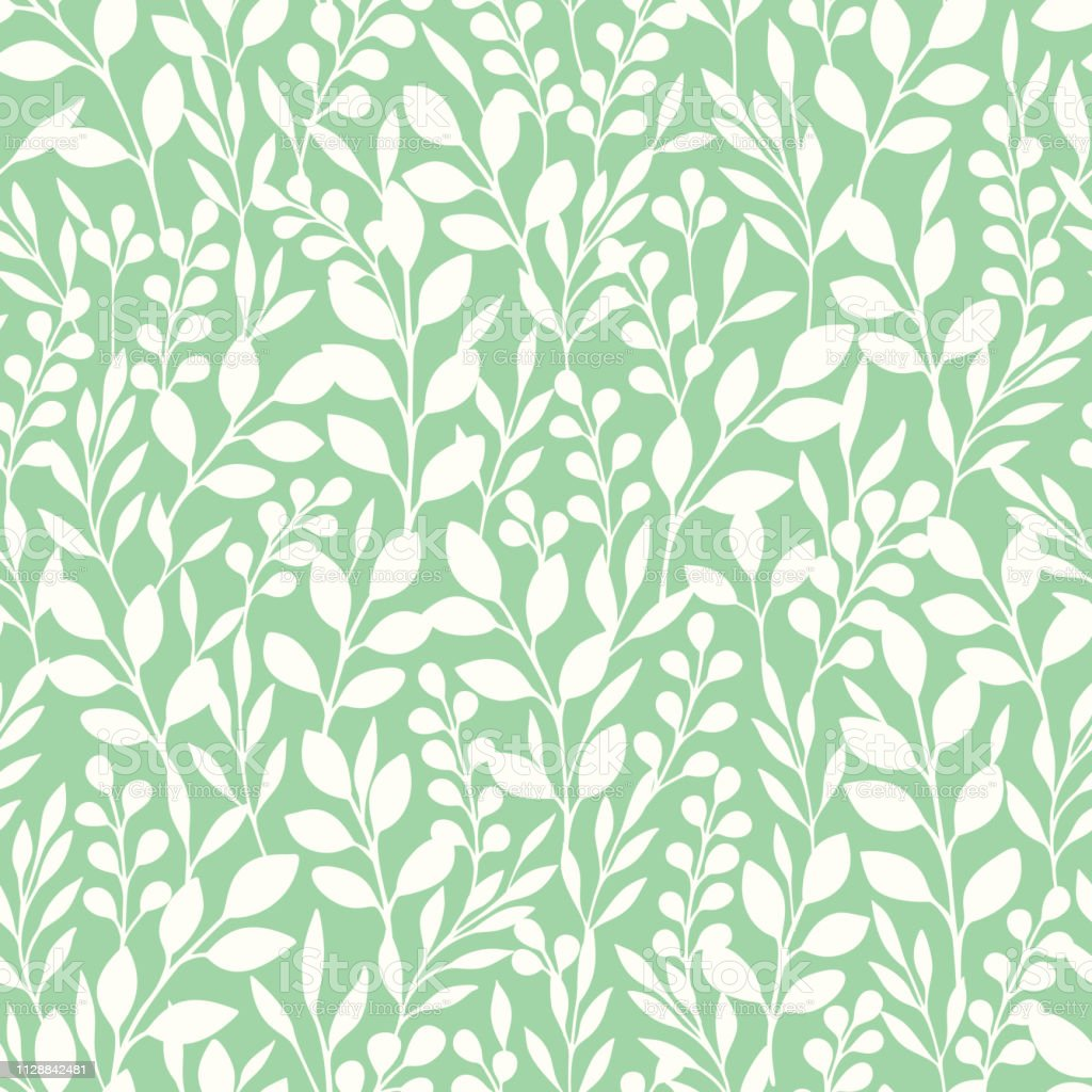 Monochrome Foliage Silhouettes Vector Seamless Pattern. Mint and White Abstract Floral Print.