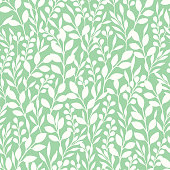 Monochrome Foliage Silhouettes Vector Seamless Pattern. Mint and White Abstract Summer Floral Print. Perfect For Fashion, Home Decor, Wallpaper