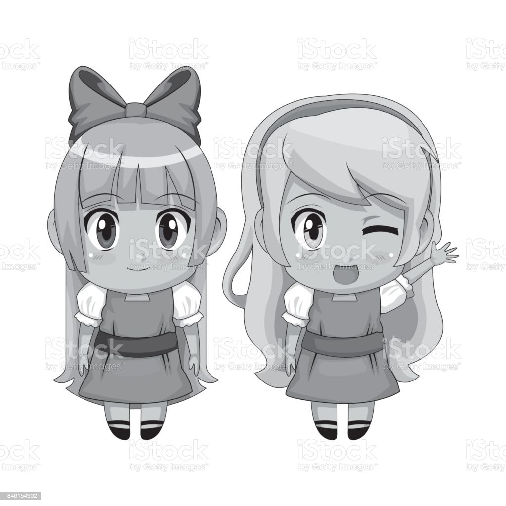 Monochrome full body couple cute anime girl facial wink expression and smile royalty free monochrome