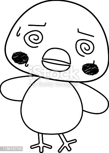 istock Monochrome Full-length illustration of the cute tint color chick character 1158132100