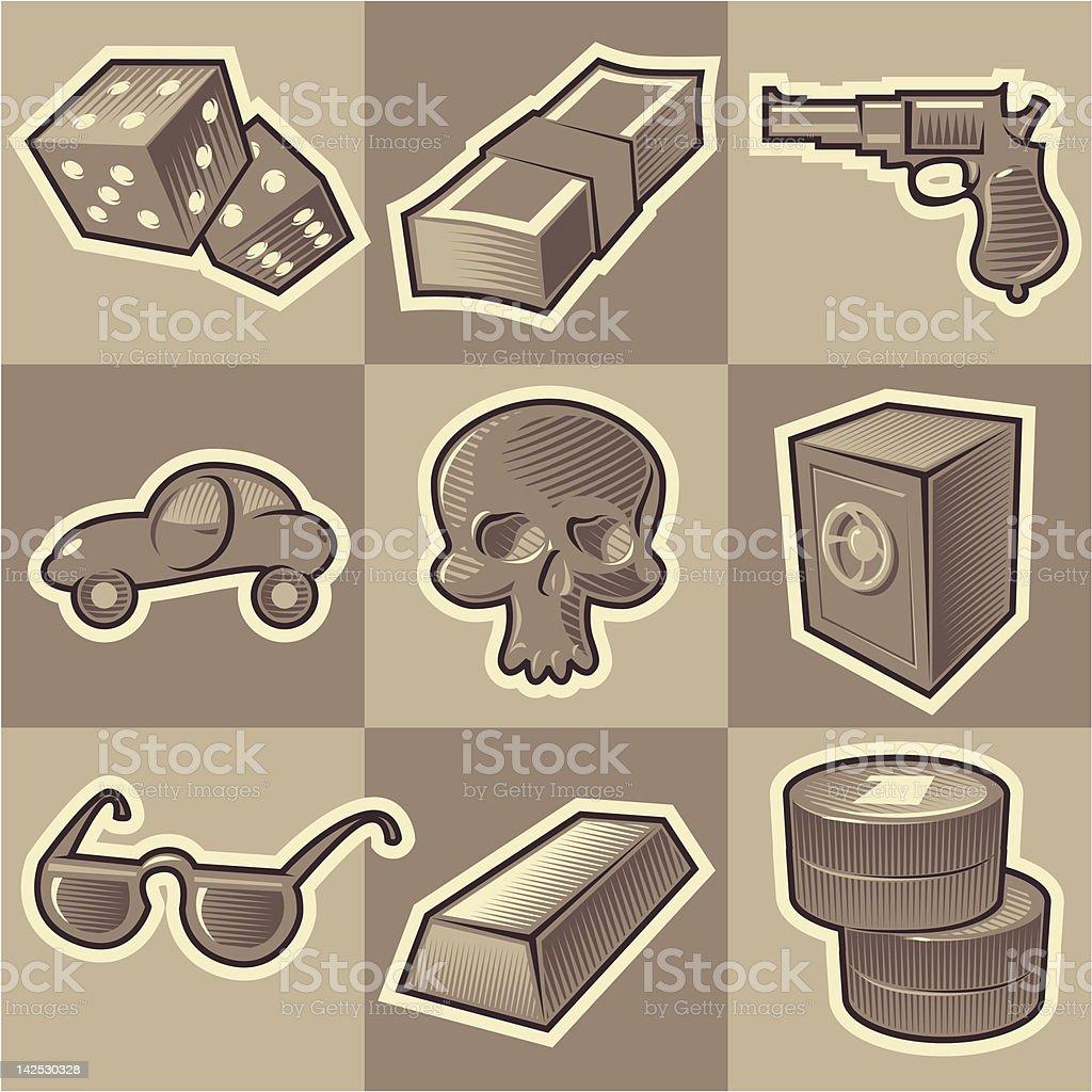 Monochrome gangsta icons royalty-free stock vector art