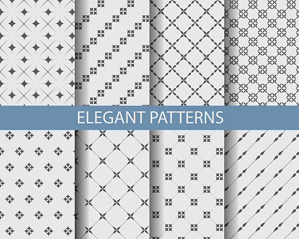 monochrome geometric pattern 8 different classic black and white patterns. Endless texture can be used for wallpaper, pattern fills, web page background,surface textures. formalwear stock illustrations