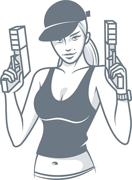 monochrom mädchen in cap für pistols - kopfschüsse stock-grafiken, -clipart, -cartoons und -symbole