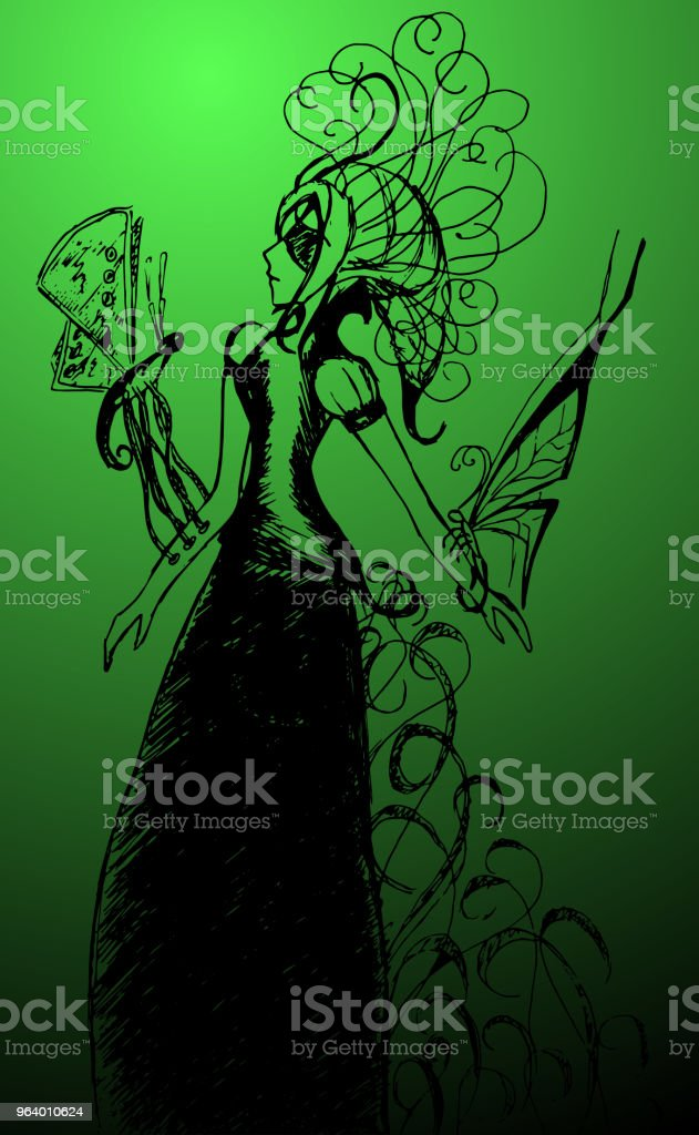 Monochrome girl with butterflies sketched line art vector - Royalty-free Abstract stock vector