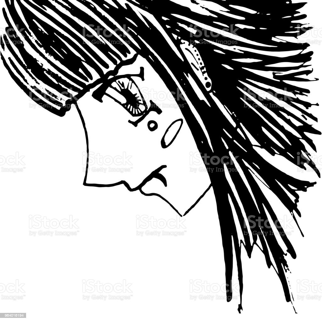 Monochrome girl with piercing portrait sketched art vector - Royalty-free Abstract stock vector