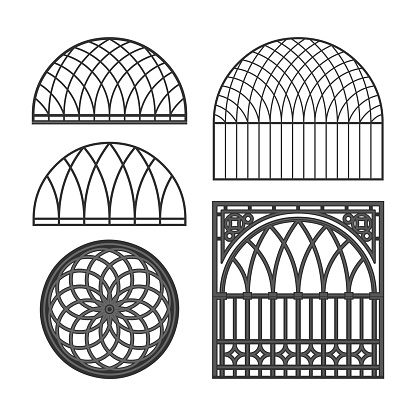 Monochrome gothic cast iron ornamentation in the binding of grids in the architecture of the Russian city of Kaluga.