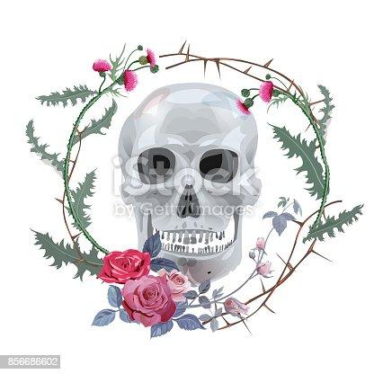 Istock Monocromo Gris Cráneo Rojo Rosas Bouquet Flores Brotes Y