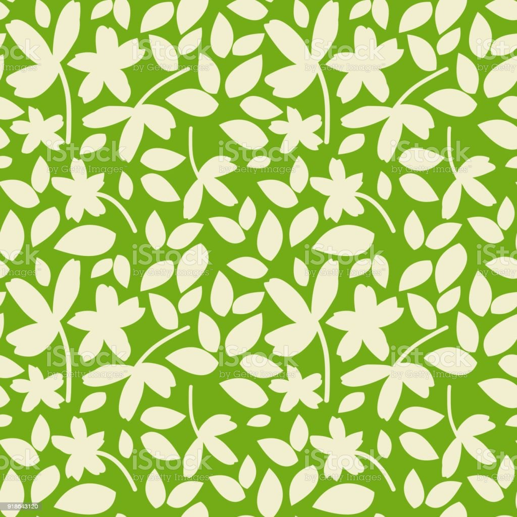 Monochrome Green And White Leaves Seamless Pattern Simple Botanical Ornament With Small Silhouette Elements On