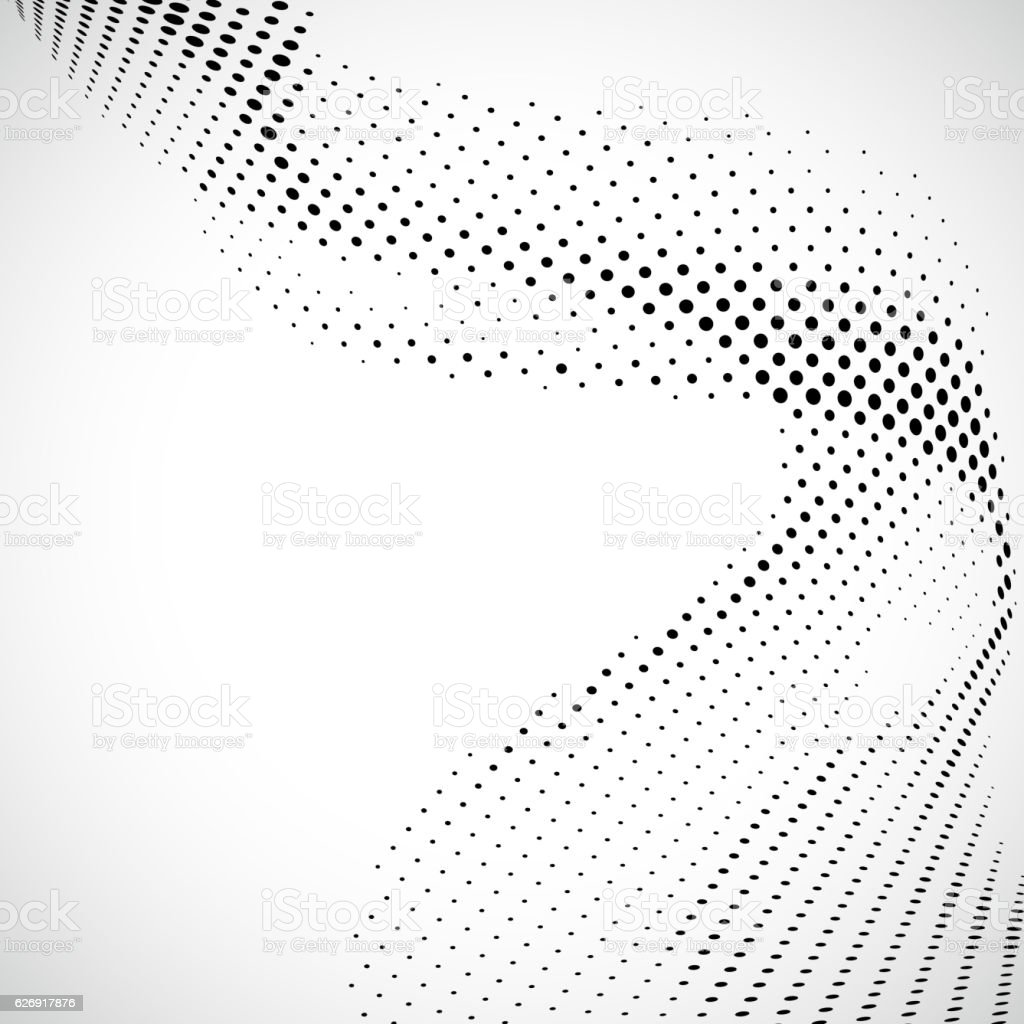 Monochrome halftone dots wavy pattern background - ilustração de arte em vetor