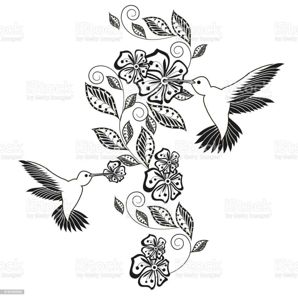 Monochrome hand drawn decorative floral element, hummingbird for coloring page, print, tattoo stock vector art illustration
