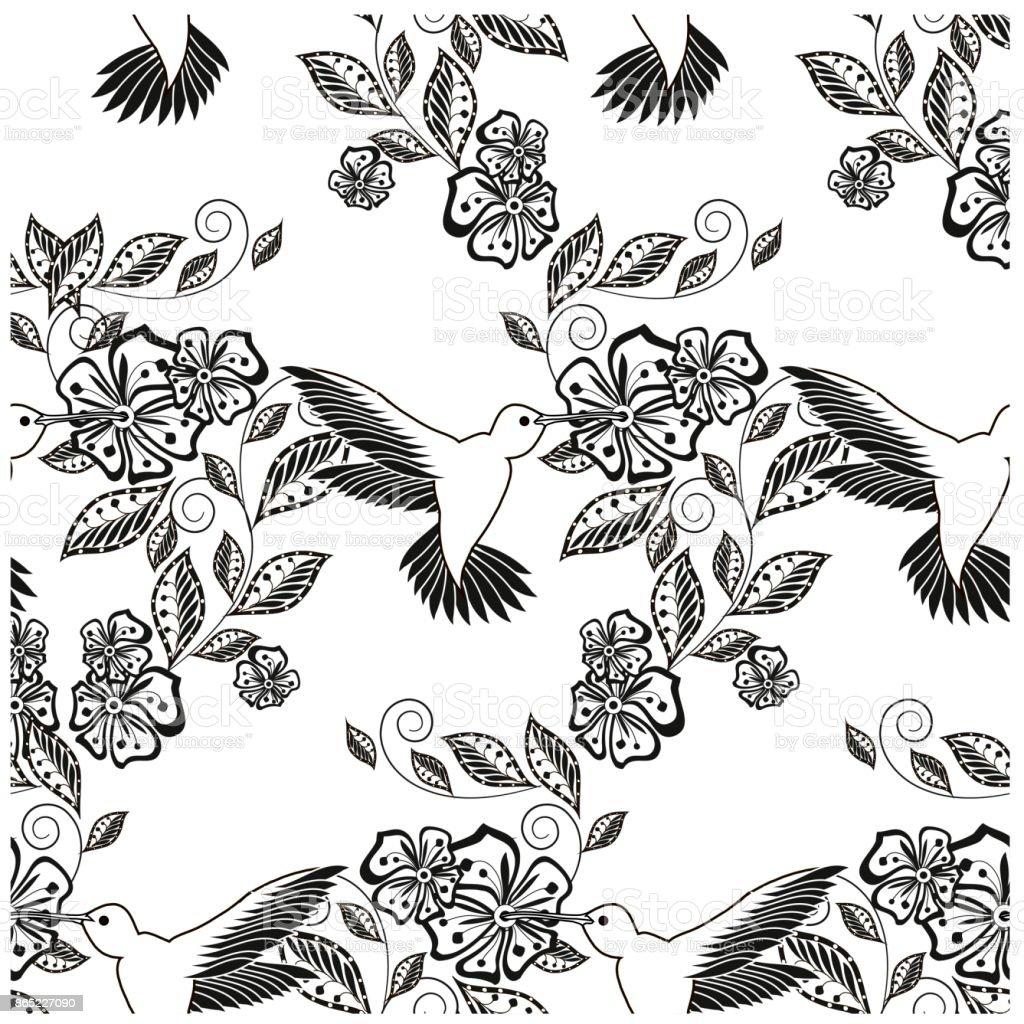Ilustración De Colibrí De Patrón Floral Transparente Dibujado Mano
