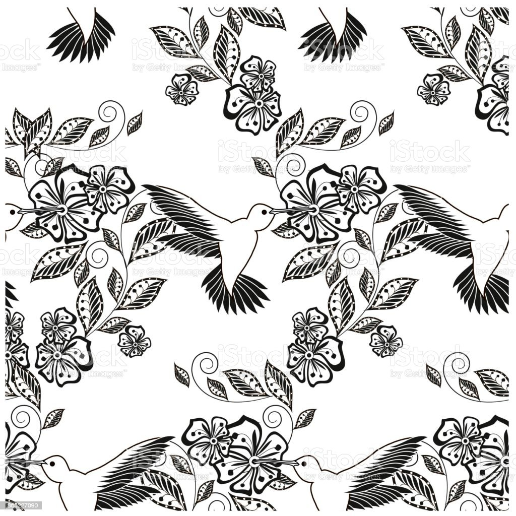 Monochrome hand drawn seamless floral pattern hummingbird for coloring page, print, tattoo stock vector illustration vector art illustration