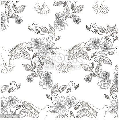Ilustración de Colibrí De Patrón Floral Transparente Dibujado Mano ...
