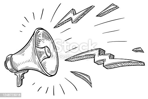 istock Monochrome hand drawn shouting megaphone 1248723018