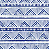 Monochrome Hand Drawn Tribal African Zig Zag and Stripes Vector Seamless Pattern. Stylised Dense Ethnic Ball Pen Geo Textured Background. Blue on White Graphic Print Perfect for Fashion Home Decor.