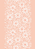 Monochrome hand-painted daisies and foliage on peach pink background vertical vector seamless border and pattern. Spring summer floral edge graphic print. Perfect for textiles, stationery