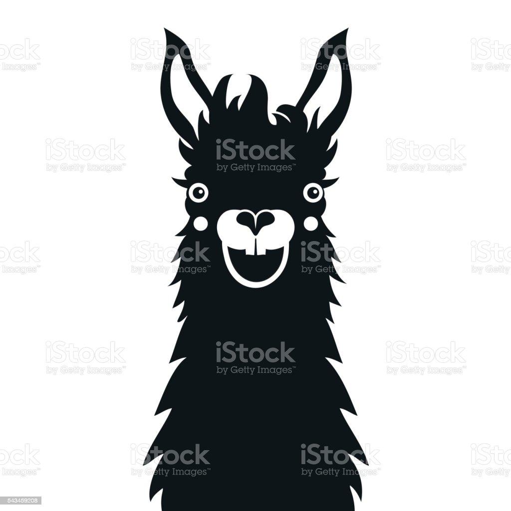Monochrome happy smiley face llama vector art illustration
