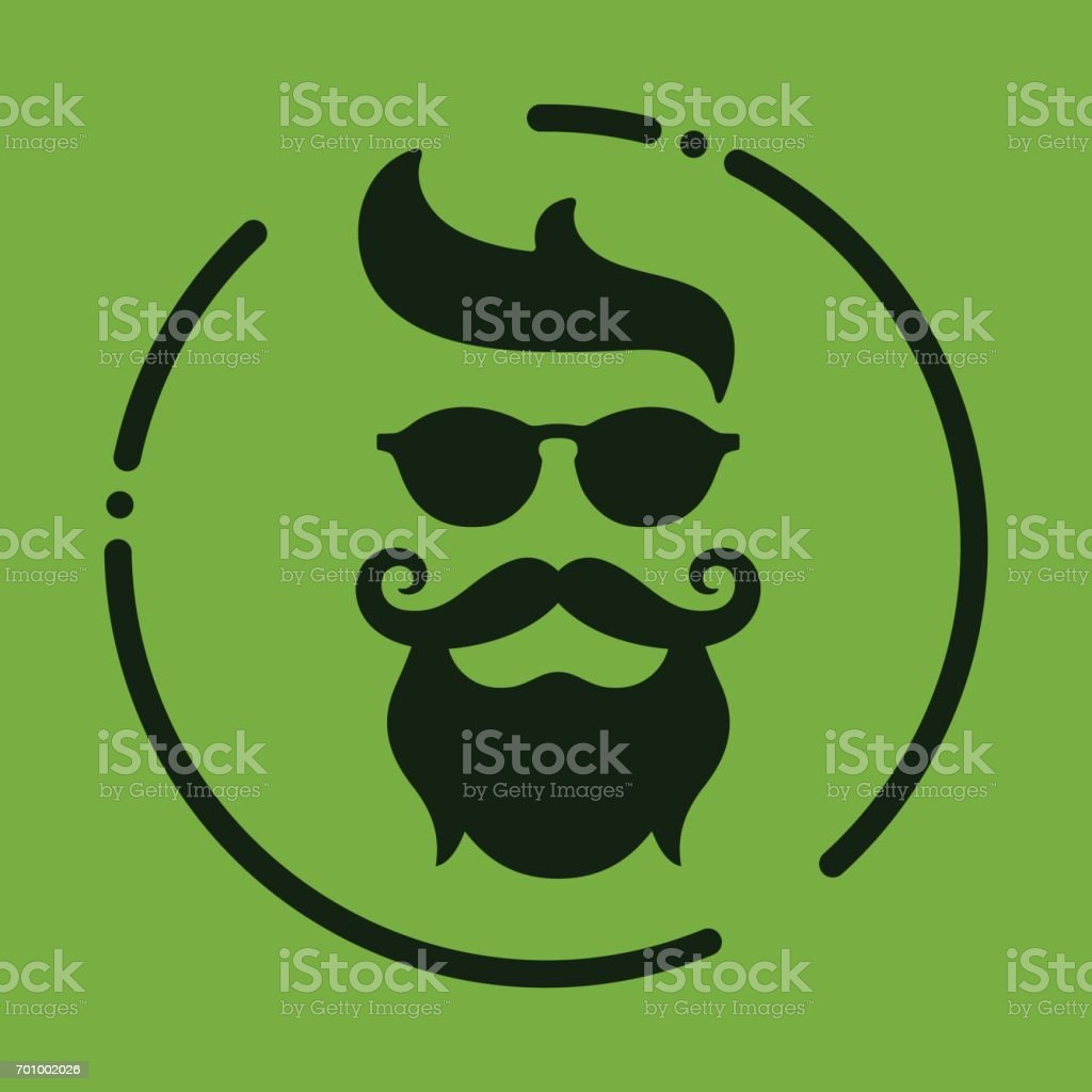 Monochrome hipster with beard, glasses, haircut, mustaches. Silh vector art illustration