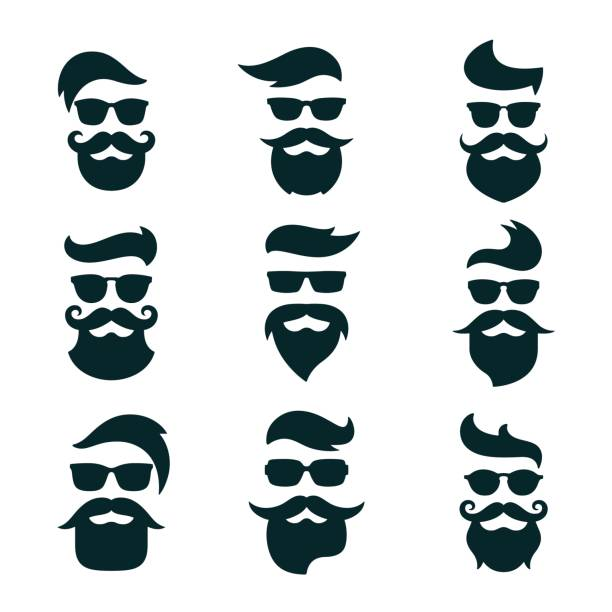 Monochrome hipsters faces set with different beards, glasses, ha vector art illustration