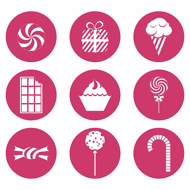 ilustrações, clipart, desenhos animados e ícones de monocromático ícones doces - brigadeiro
