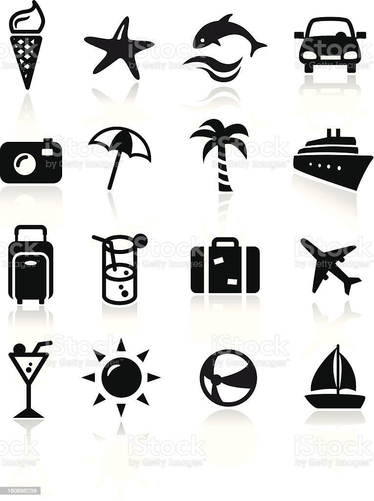 Monochrome icons depicting summer related items royalty-free stock vector art