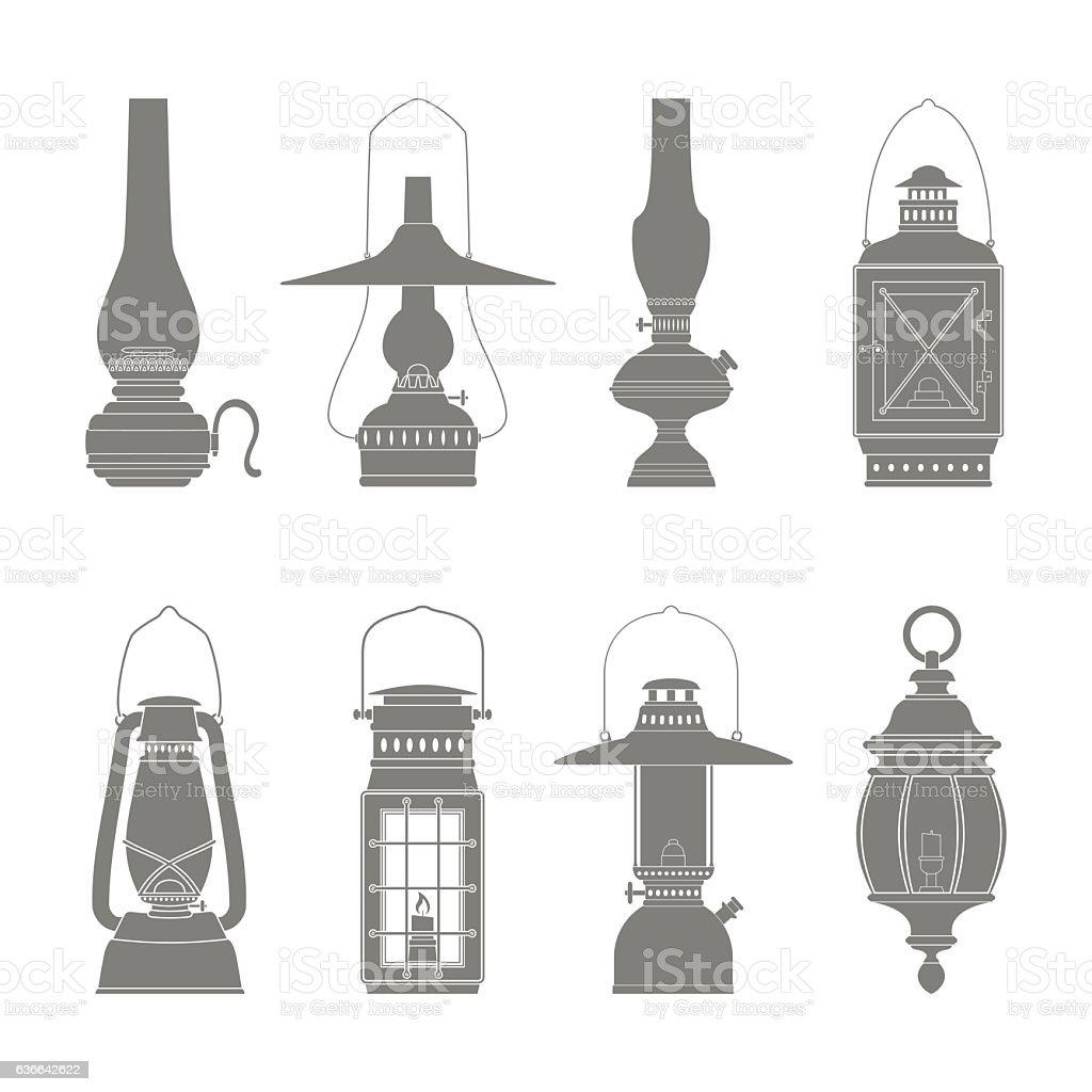 monochrome icons set with lantern vector art illustration
