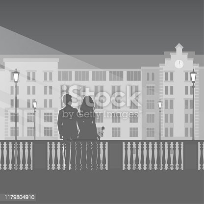 Silhouettes of man and woman on a love date in the night city. In the background is a beautiful building and street lamps. Monochrome vector illustration on a romantic theme.