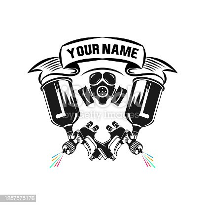 Airbrush Master. Specialist in a respirator and glasses with a paint spray gun for car painting. Black silhouette on white background. Vector illustration.
