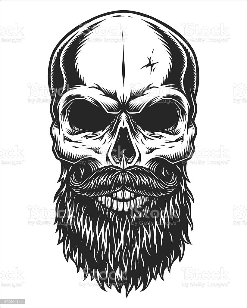 Monochrome illustration of skull - ilustración de arte vectorial