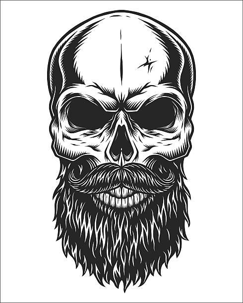 Monochrome illustration of skull vector art illustration