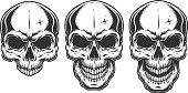 Monochrome illustration of skull