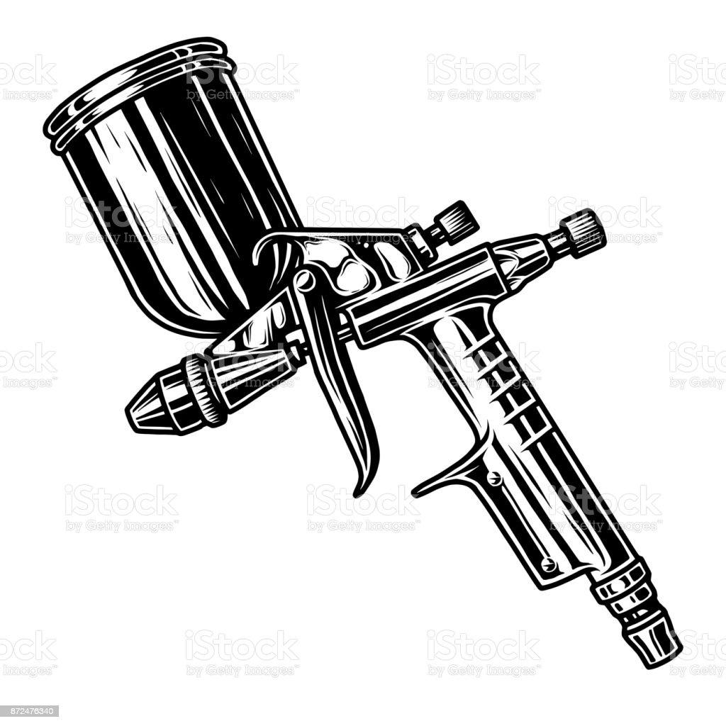 Monochrome illustration of spray gun vector art illustration