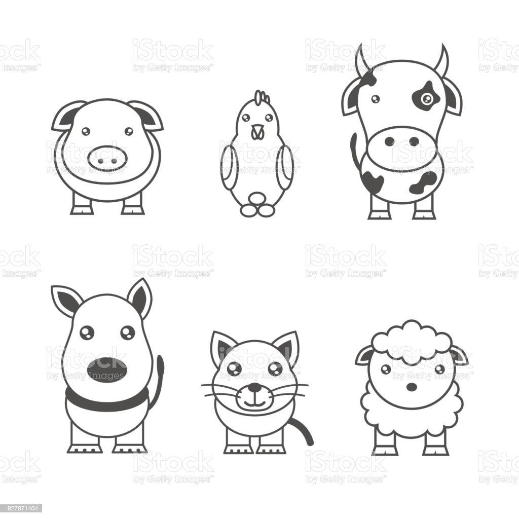 動物のモノクロ イラスト - イラストレーションのベクターアート素材や