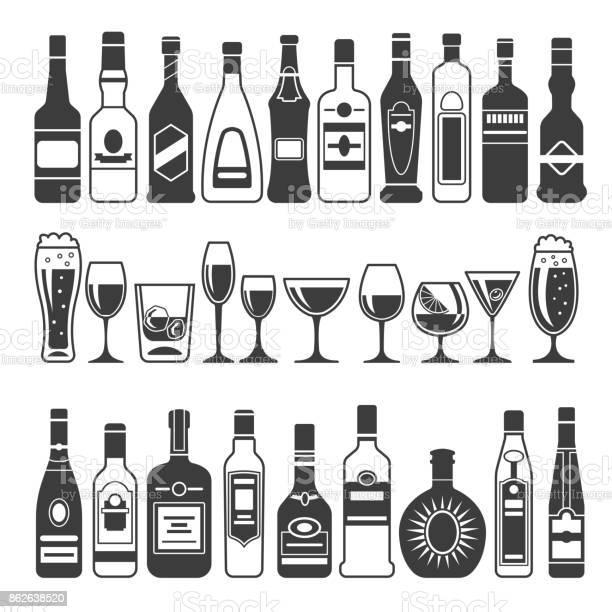 Monochrome illustrations of black pictures of alcoholic bottles for vector id862638520?b=1&k=6&m=862638520&s=612x612&h=7ovpmm8srhkaoewx0jq8hhf3teeno09chtkjrogztww=