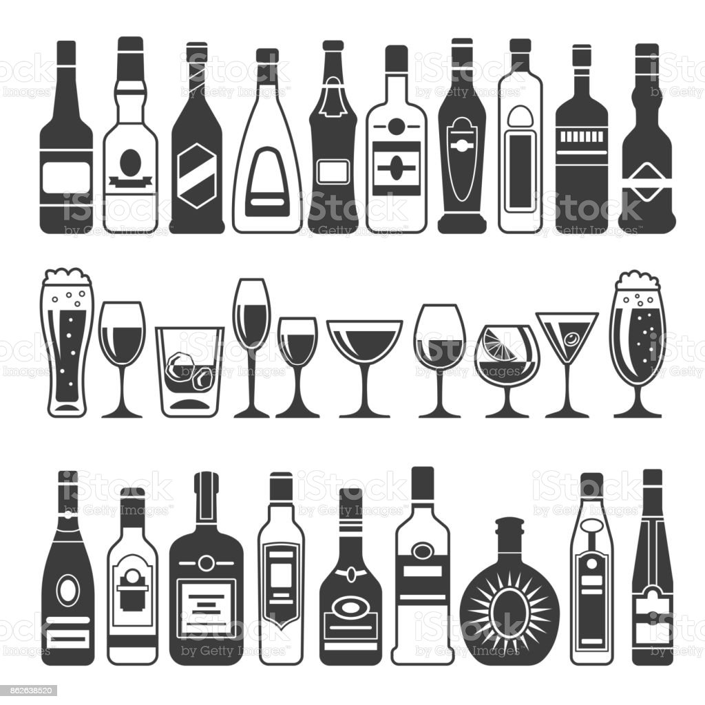 Monochrome illustrations of black pictures of alcoholic bottles. Vector illustrations for icon or label design vector art illustration