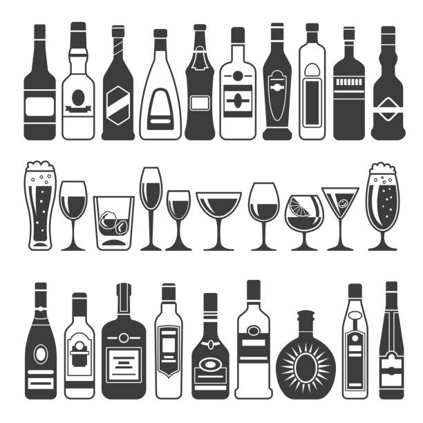 monochrome illustrations of black pictures of alcoholic bottles. vector illustrations for icon or label design - alcohol drink silhouettes stock illustrations