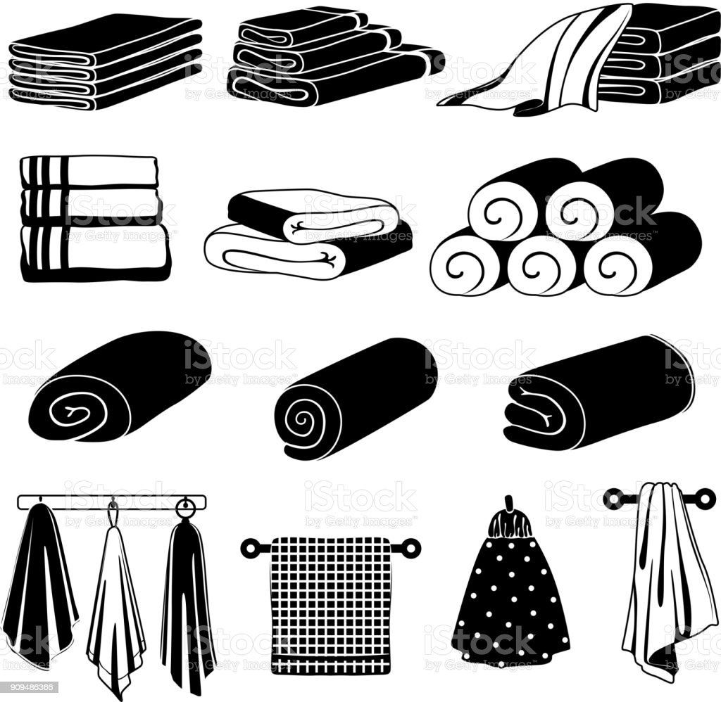 Monochrome illustrations of different towels. Vector set isolate on white vector art illustration