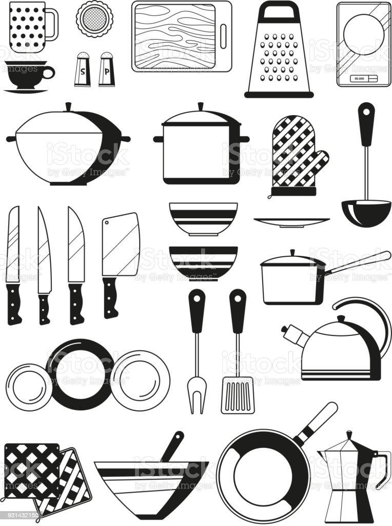 Ilustraci n de ilustraciones monocrom ticas de utensilios for Utensilios de restaurante