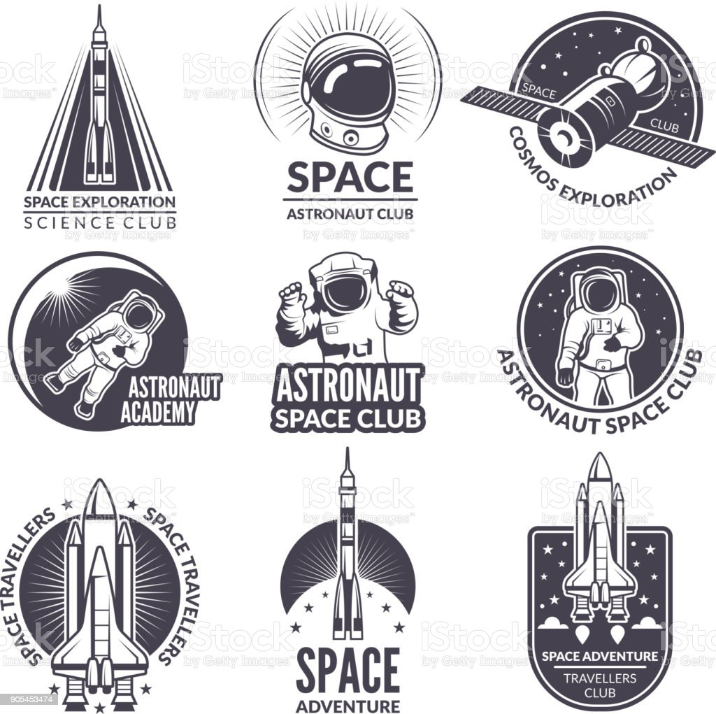 Monochrome illustrations of space shuttle and astronauts for labels and badges - illustrazione arte vettoriale