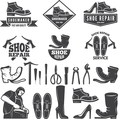 Monochrome illustrations of various tools for shoe repair. Labels or icons for clothing factory. Vector shoe repair, shoemaker profession, repairman and craftsmanship