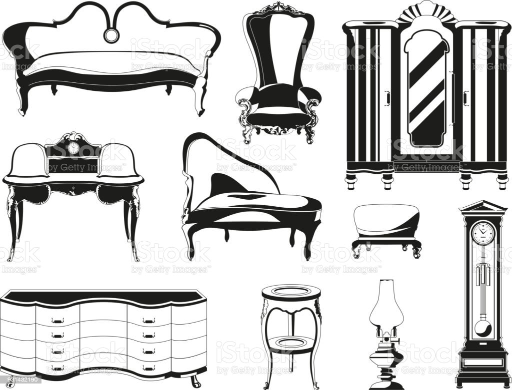Monochrome Illustrations Of Vintage Furniture For Living Room Stock ...