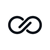 Infinity symbol on white background. Lap streaked letters view.