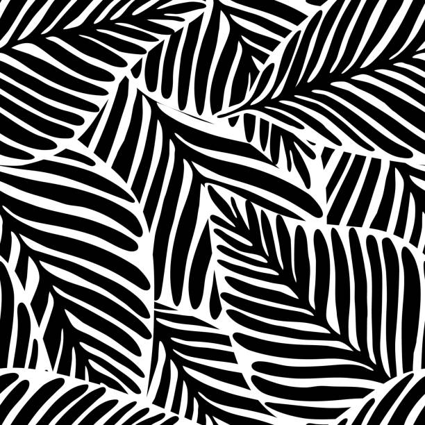 monochrome jungle geometric seamless pattern. exotic plant. - monochrom stock illustrations