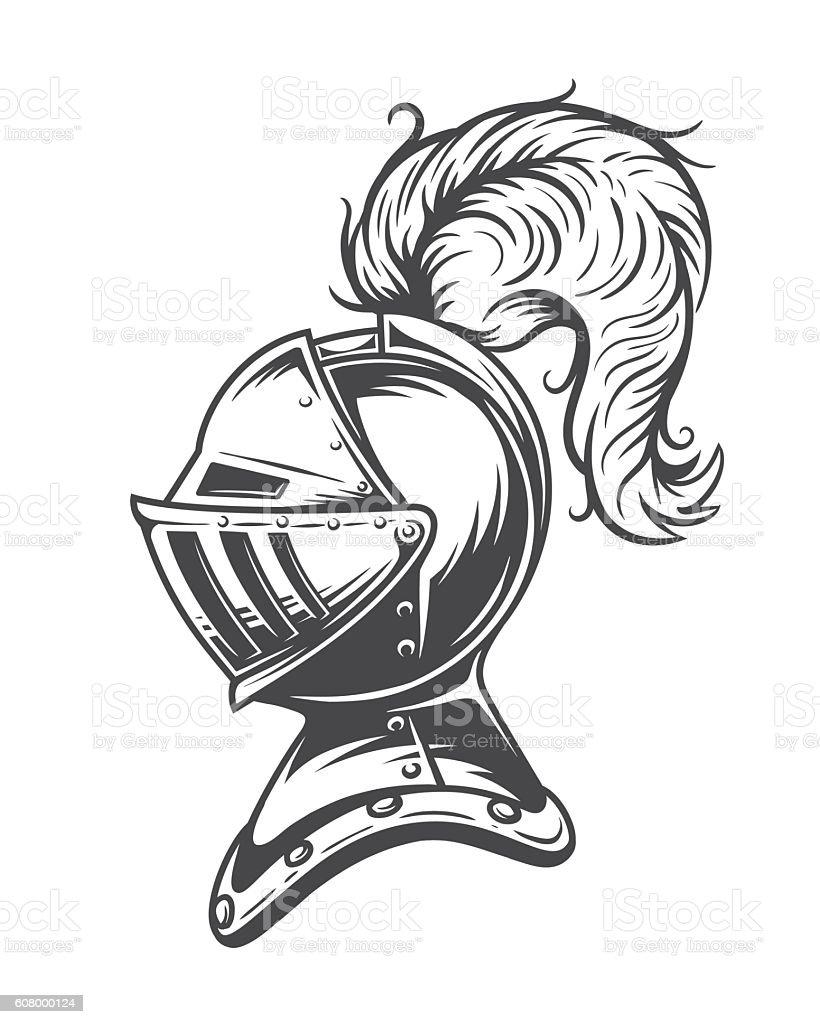 Monochrome knight helmet armor vector art illustration