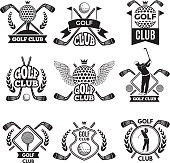 Monochrome labels for golf club. Illustration for sport tournament or competition. Golf club emblem and badge collection vector