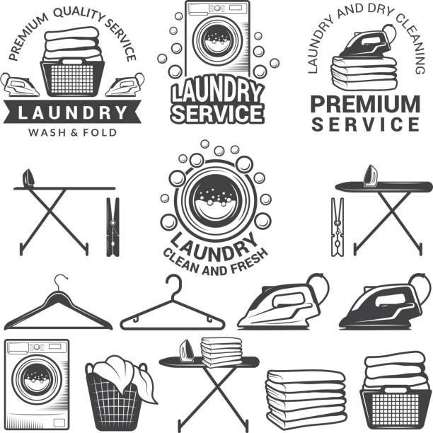 Monochrome labels of laundry service. Illustrations of washing machines Monochrome labels of laundry service. Illustrations of washing machines. Service machine wash, hanger and laundry emblem vector washing stock illustrations