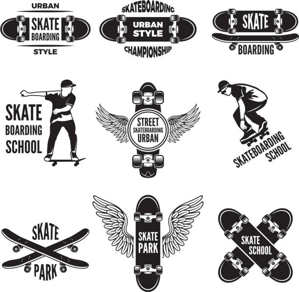 Monochrome labels of skaters. Pictures of skateboarding vector art illustration