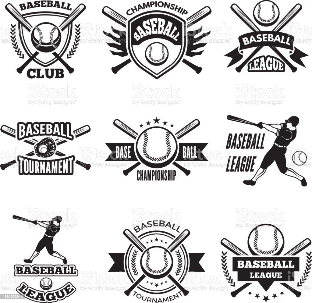 Etiquetas monocromáticas o emblema para el club de béisbol. Aislar a insignias de vector sobre blanco - ilustración de arte vectorial