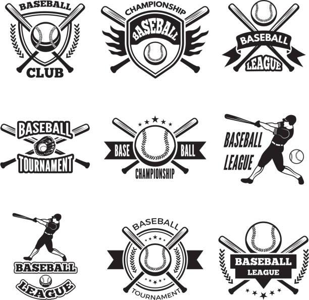 ilustraciones, imágenes clip art, dibujos animados e iconos de stock de etiquetas monocromáticas o emblema para el club de béisbol. aislar a insignias de vector sobre blanco - béisbol