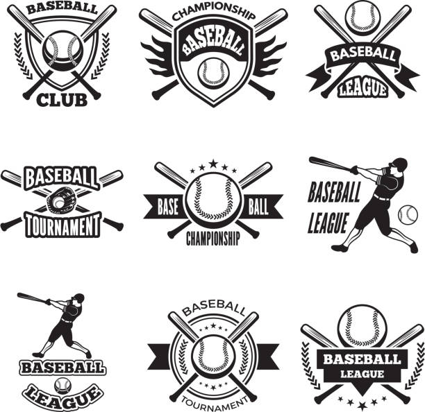 monochrome labels or emblem for baseball club. vector badges isolate on white - baseball stock illustrations